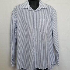 Balmain Dress Shirt w/ Blue + White Stripes